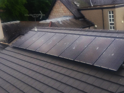 Black 8 panel Solar System on Roof