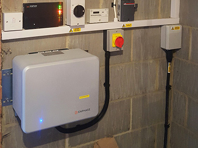 Enphase AC solar battery installed in garage